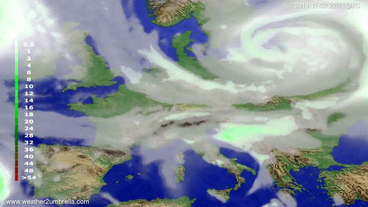 Precipitation forecast Europe 2016-10-31