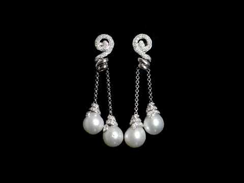 Lady's 14k White Gold South Sea White Pearl and Diamond Earrings (Apx. 10-12.95mm)