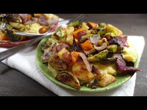 Healthy Fall Roasted Veggies with Sage Gorgonzola Polenta Recipe