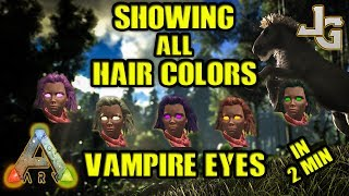 "Did you ever wanted to see how the 25 different dyes/colors is looking like when you're coloring your hair or the Vampire Eyes Skin?Now is your chance! It only takes 2 minutes! Link for how to make all the dyes/colors in ARK:http://ark.gamepedia.com/DyeLink for the Vampire Eyes Skin:http://ark.gamepedia.com/Vampire_Eyes_SkinHint: You need Charcoal, Gunpowder and Sparkpowder and all the different berries, except the mejoberries, for making every dye/color in ARK.SUBSCRIBE to learn more about ARK!http://www.youtube.com/subscription_center?add_user=jonesy-gamingPATREON: Let's support each other!https://www.patreon.com/JonesyGamingHOST your own ARK server?https://hosthavoc.com/billing/aff.php?aff=589MUSIC:TheFatRat - Monody (feat. Laura Brehm)-- My WISHLIST for my new HIGH END GAMING computer --▪ Monitor ▪ Asus 27"" LED G-Sync Rog Swift PG279Qhttp://amzn.to/2oDRZ4v▪ GPU ▪ Asus GeForce GTX 1080 Ti Founders Ed.http://amzn.to/2nQr6gv▪ CPU ▪ Intel Core i7-7700K Kaby Lake Processorhttp://amzn.to/2nkMQgx▪ RAM ▪ 2x Corsair Vengeance LPX DDR4 3200MHz 16GBhttp://amzn.to/2oE8Unv▪ MB ▪ ASUS Strix Z270F Gaming, Socket-1151http://amzn.to/2nkNCtZ ▪ SSD ▪ Samsung 850 EVO 500GB M.2 SSDhttp://amzn.to/2nkzWPM▪ Cooler ▪ Noctua NH-U14S CPU Coolerhttp://amzn.to/2nkEBkI▪ PSU ▪ EVGA Power Supply 650W GOLDhttp://amzn.to/2oDZOao▪ CASE ▪ Fractal Design - Define C Blackhttp://amzn.to/2nkDpOj"