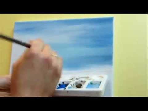 "Part 1  Acrylic Landscape"" How To Paint A Blue Sky"""
