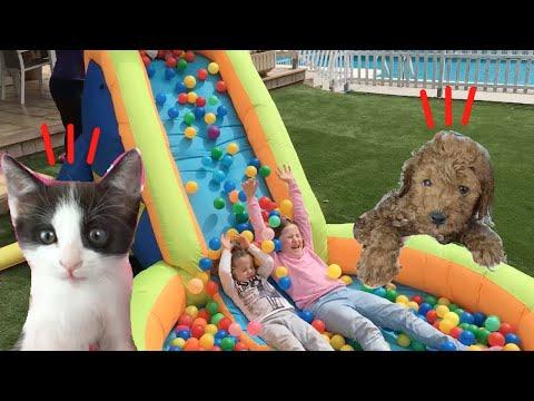 Laia y Anna juegan con juguetes inflables y pelotas de colores para niños con mis gatitos bebés