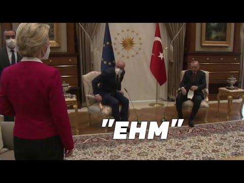 La présidente de la Commission européenne, Ursula von der Leyen a vu s'asseoir face à face Charles Michel et Erdogan. Mais aucune chaise n'avait été prévue pour elle…