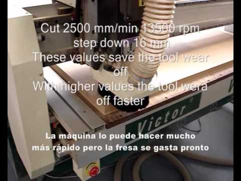 Router VR1325A cortando MDF de 25 mm.