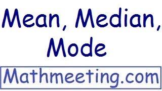Statistics - Mean, Median, Mode