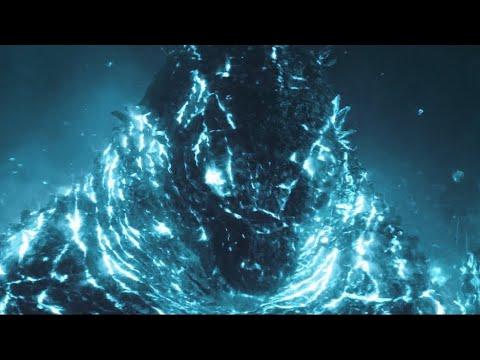 Burning Godzilla with blue nuclear pulse 4K - Godzilla: King of the Monsters