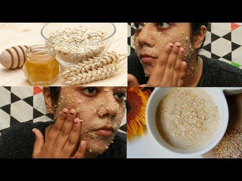 DIY Natural Face Scrub / Oatmeal Honey Scrub / Oats for skin видео