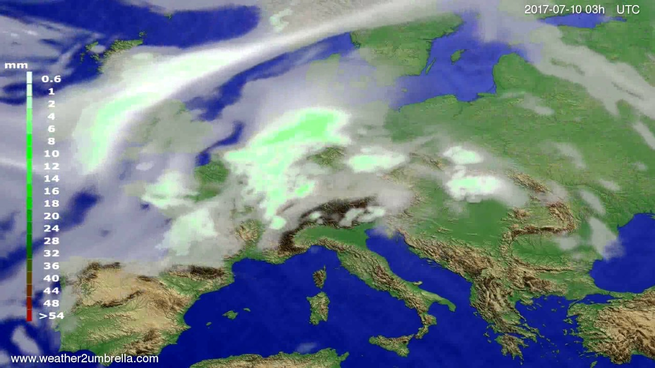 Precipitation forecast Europe 2017-07-07