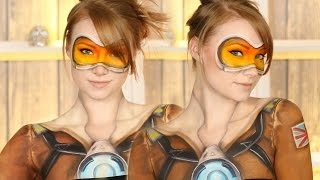 Overwatch: Tracer Makeup Tutorial (Clothes Painted on!) by Madeyewlook