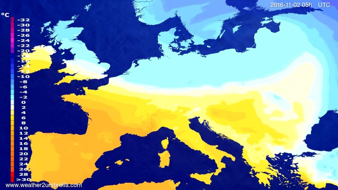 Temperature forecast Europe 2016-10-30