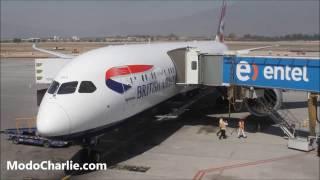 British Airways volvió a aterrizar en Chile con su vuelo inaugural desde Londres, Inglaterra, cuando el Boeing 787-9 Dreamliner registrado G-ZBKD, callsign S...