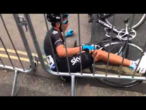 Fan captures Sky rider crash at the Tour of Britain