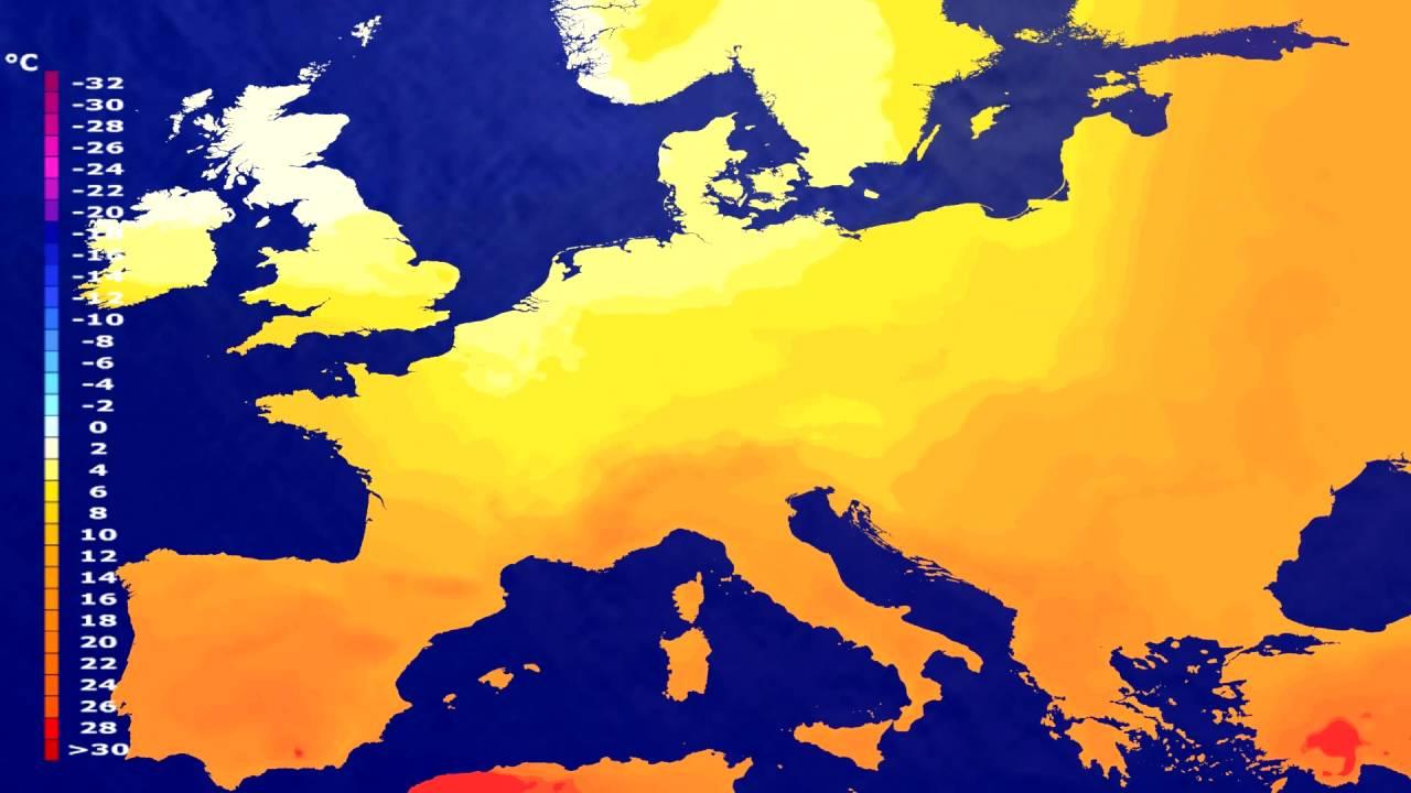 Temperature forecast Europe 2016-07-01