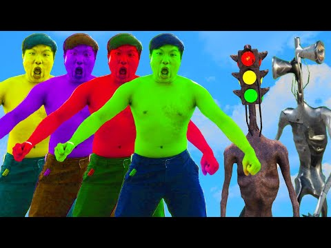 Team Hulk Vs Traffic Light Head, Metal Siren Head | Super Green