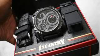 Swiss Army Triple Time bonus strap kulit dan kanvas d:5cm.