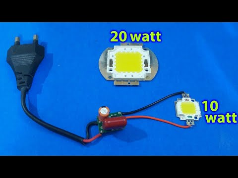 10w Or 20w LED On 230v AC (using Simple Circuit) Repeat