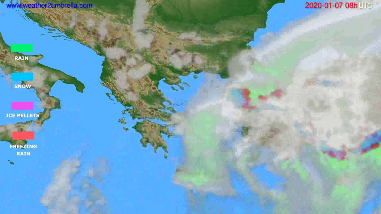 Precipitation forecast Greece // modelrun: 12h UTC 2020-01-06