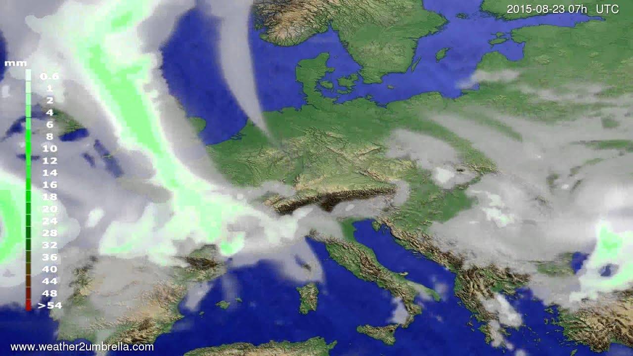 Precipitation forecast Europe 2015-08-20