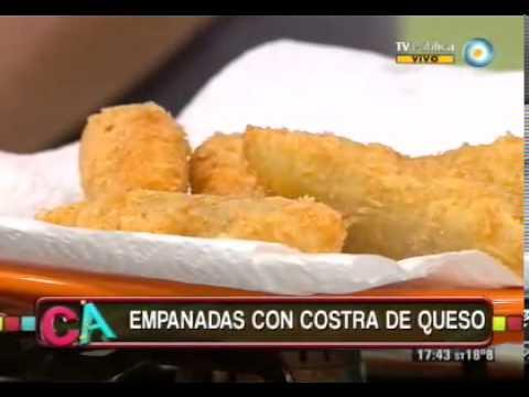 Empanadas fritas con costra de queso