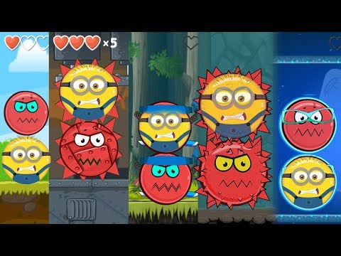 MINION BALL IN RED BALL 4 FIGHTS WITH ALL 5 BOSS ! Cartoon game for Kids NEW Red Ball 4