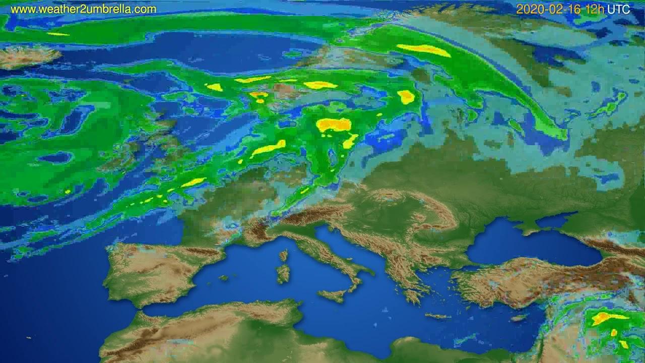 Radar forecast Europe // modelrun: 00h UTC 2020-02-16