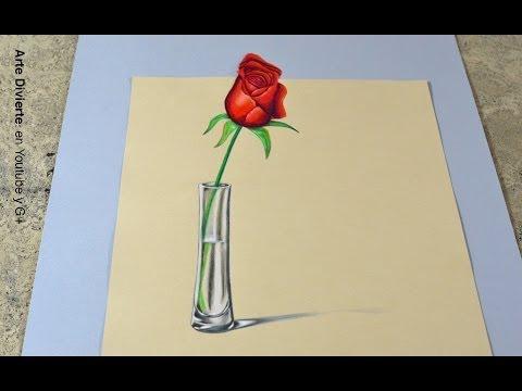 La técnica SECRETA para hacer un dibujo en 3D! - Cómo dibujar una rosa anamórfica