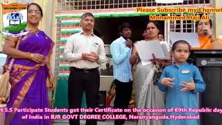 69th Republic Day of India celebrated by BJR GOVERNMENT DEGREE COLLEGE Narayanguda Hyderabad  2018