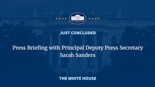Principal Deputy Press Secretary Sarah Sanders delivers a press briefing following the resignation of press secretary Sean Spicer ...