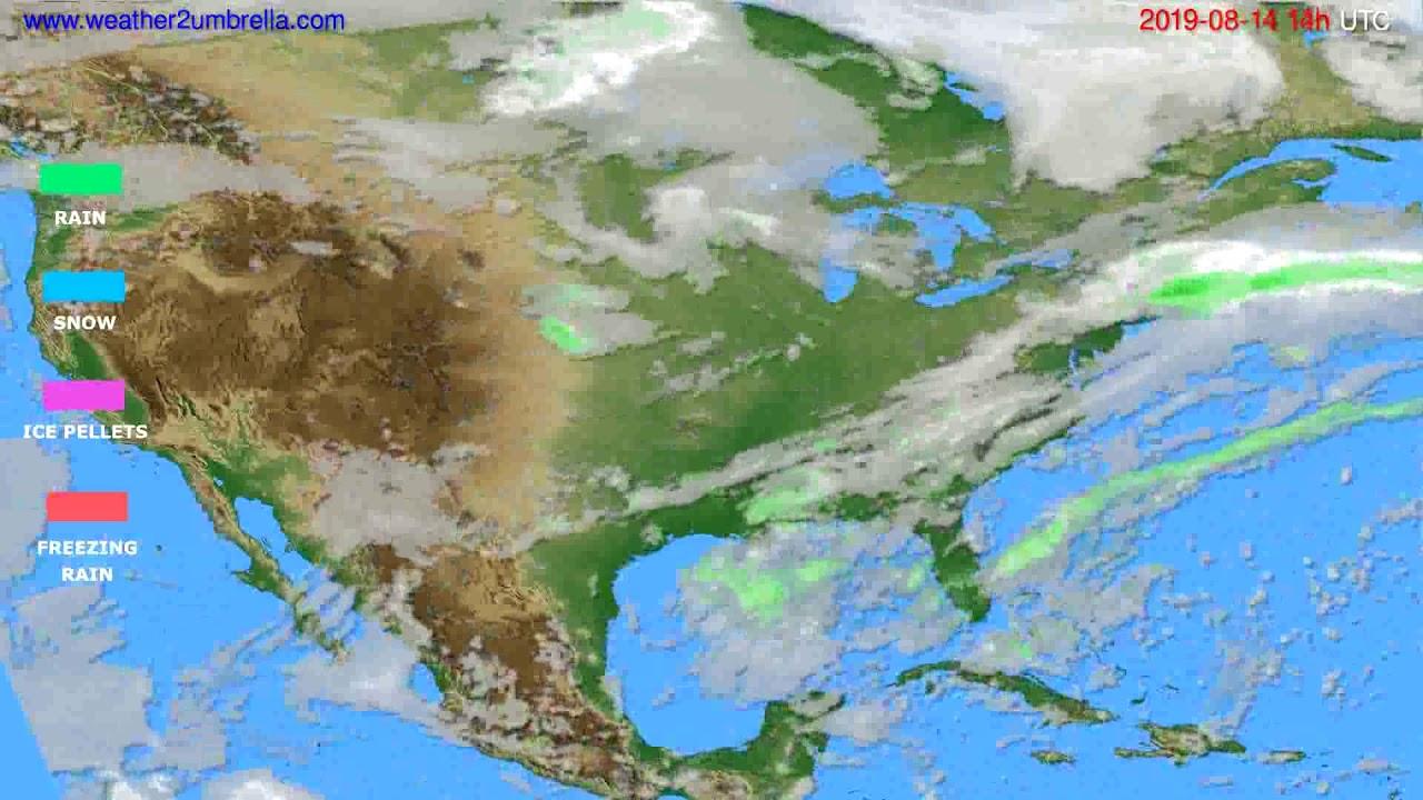 Precipitation forecast USA & Canada // modelrun: 00h UTC 2019-08-12