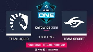 Liquid vs Secret, ESL One Katowice, game 2 [GodHunt, 4ce]