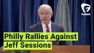 Jeff Sessions spoke in Philly about how sanctuary cities are are a threat to us all—but people aren't having it:Subscribe to Fusion: http://fus.in/subscribeVisit us at: http://www.fusion.netLike us at: https://www.facebook.com/fusionmedianetworkFollow us at: https://twitter.com/fusionView us: http://instagram.com/ThisIsFusionWatch more from Fusion friends:F-Comedy: https://goo.gl/Q27Mf7Fusion TV: https://goo.gl/1IbZ1BGizmodo: https://goo.gl/YTRLAEKotaku: https://goo.gl/OcnXv7Deadspin:  https://goo.gl/An7N8gJezebel:  https://goo.gl/XNsnCJLifehacker:  https://goo.gl/3rNmzwIo9:  https://goo.gl/ismnzPJalopnik:  https://goo.gl/u7sDEkSploid:  https://goo.gl/4yq2UYThe Root:  https://goo.gl/QMOjBE