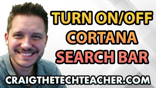 This video is brought to you by: http://www.craigthetechteacher.com - Cortana is a voice command system built into the Windows 10 operating system. For many of us, we have no interest in actually using Cortana voice search.If you don't want the oversized search bar taking up a large chunk of your taskbar then you're in luck. Microsoft built in the ability to hide this search bar completely or simply reduce it down to the size of an icon.My preference is to leave it as a search bar (unless there are so many icons I simply don't have room for it)