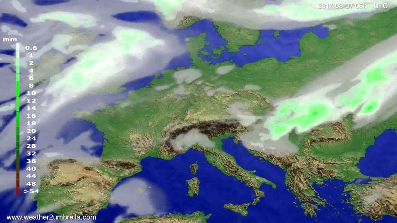 Precipitation forecast Europe 2017-08-04