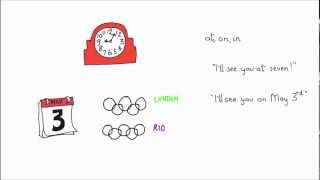 Time prepositions, at, on and in