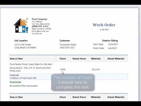Estimating program for painters - create a work order using The Paint Estimator
