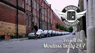 "Mindless - Daily Stained 24"" White & Blue longboard"