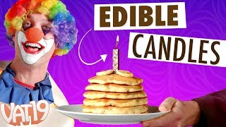 "Blow out your birthday candles, and then eat them! Because they're chocolate!Buy here: https://www.vat19.com/item/edible-birthday-candles?adid=youtubeSubscribe to Vat19: http://www.youtube.com/subscription_center?add_user=vat19com Follow Vat19:Facebook: https://facebook.com/vat19Instagram: https://instagram.com/vat19/Twitter: https://twitter.com/vat19SnapChat: https://www.snapchat.com/add/vat19teamShop hundreds more curiously awesome products:https://www.vat19.com/?adid=youtubeYou should be able to have your cake and eat it too... even the candles. Decorate your next cake with Edible Candles and give the gift of a bonus dessert.Each candle is a solid piece of decadent belgian chocolate with a wick that lights just like a normal candle. After the birthday boy or girl blows out the flame, munch on the deliciously rich chocolate as a complement to your cake. And don't worry if you bite off a piece of wick; the organic hemp is safe for consumption as well.These delectable American-made candles are a birthday wish come true. Watch More Vat19:Latest Uploads: https://www.youtube.com/user/vat19com/videos?shelf_id=1&view=0&sort=ddPopular Videos: https://www.youtube.com/user/vat19com/videos?shelf_id=7&view=0&sort=pThe Sample Room: https://www.youtube.com/watch?v=jL1JK0U6s28&list=PLSqiExuEA-RG_aF5u4q5gEvJiUfoa6l25Fun Stuff to Eat: https://www.youtube.com/watch?v=7RXmNRr8x7I&list=PLSqiExuEA-REt5gzR0A9ernZNHlZ2glIlAbout Vat19:Vat19 is dedicated to ""curiously awesome"" gifts, candy, toys, gummy, putty, puzzles, games, and more! In addition to making funny commercials you'll actually want to watch, we produce amazing challenge videos, document our outrageous contraptions, and invite you to a front row seat for our silly stunts. Sometimes we blow things up, fill up a bathtub or pool with crazy stuff, dare each other to eat super spicy foods, and answer ""burning questions"" from our viewers."