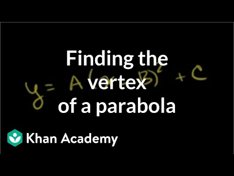 Finding the vertex of a parabola example