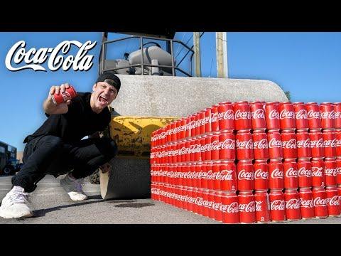 1000 CANS OF COKE vs STEAM ROLLER!! (COCA COLA vs ROAD ROLLER EXPERIMENT)