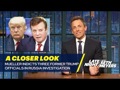 Mueller Indicts Three Former Trump Officials In Russia Investigation: A Closer Look:  Seth takes a closer look at special counsel Robert Mueller's first charges in his investigation of the Trump campaign's potential ties to Russia.» Subscribe to Late Night: http://bit.ly/LateNightSeth» Get more Late Night with Seth Meyers: http://www.nbc.com/late-night-with-seth-meyers/» Watch Late Night with Seth Meyers Weeknights 12:35/11:35c on NBC.LATE NIGHT ON SOCIALFollow Late Night on Twitter: http://twitter.com/LateNightSethLike Late Night on Facebook: http://www.facebook.com/LateNightSethFind Late Night on Tumblr: http://latenightseth.tumblr.com/Connect with Late Night on Google+: http://plus.google.com/+LateNightSeth/videosLate Night with Seth Meyers on YouTube features A-list celebrity guests, memorable comedy, and topical monologue jokes.NBC ON SOCIAL Like NBC: http://Facebook.com/NBCFollow NBC: http://Twitter.com/NBCNBC Tumblr: http://NBCtv.tumblr.com/NBC Pinterest: http://Pinterest.com/NBCtv/NBC Google+: http://plus.google.com/+NBCYouTube: http://www.youtube.com/nbcNBC Instagram: http://instagram.com/nbctvMueller Indicts Three former Trump Officials In Russia Investigation: A Closer Look- Late Night with Seth Meyershttp://ascendents.net/?v=Ic5DdDauuh8Late Night with Seth Meyershttp://www.youtube.com/user/latenightseth