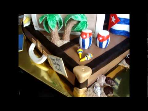 fondant suitcase cake - This is a birthday cake for a lady turning 60.