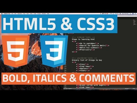 HTML5 and CSS3 beginner tutorial 5 - Bold, italics and comments