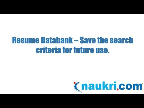How to save your search criteria(save search) for future use in Naukr's database?