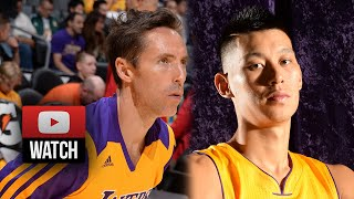 Steve Nash & Jeremy Lin Lakers Debut Highlights vs Nuggets (2014.10.06) - 12 Pts, 15 Ast Total!