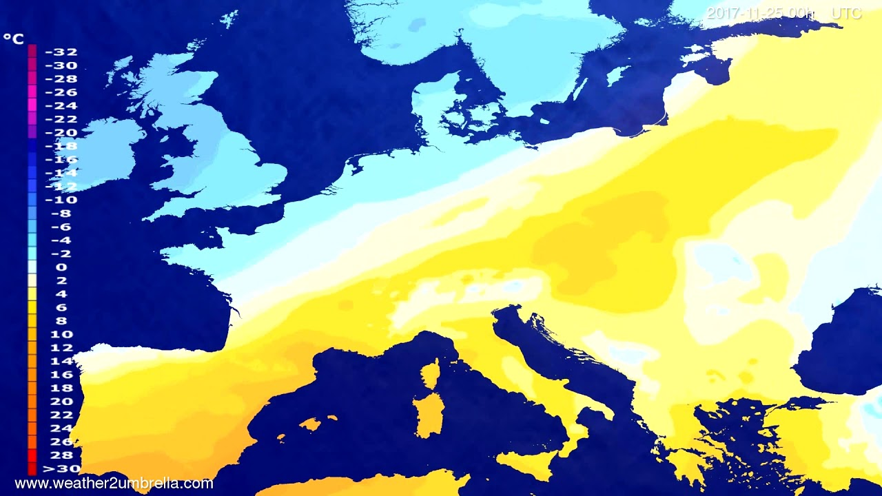 Temperature forecast Europe 2017-11-22