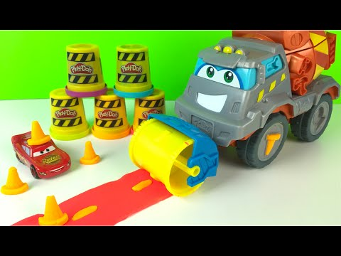 Play Doh Max the Cement Mixer Truck Construction Toys for boys CAT DUMP TRUCK with Paw Patrol Chase