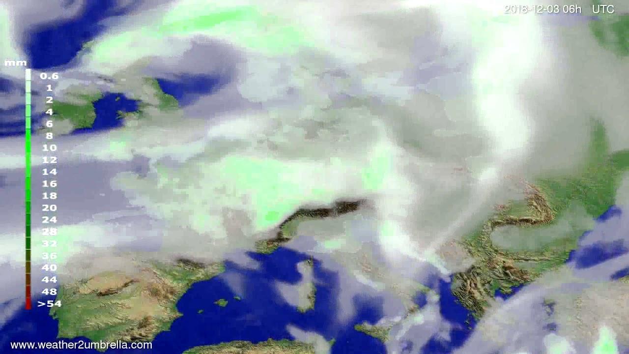 Precipitation forecast Europe 2018-11-29