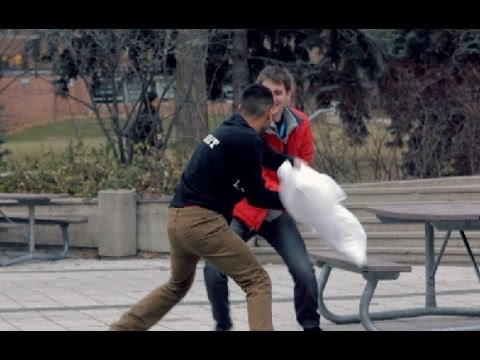 Remember that random pillow fight? They've been happening all over my campus: University of Waterloo