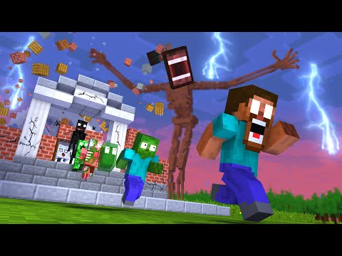 Monster School : SIREN HEAD RIP WITHER GIANT APOCALYPSE ATTACK ESCAPE - Minecraft Animation