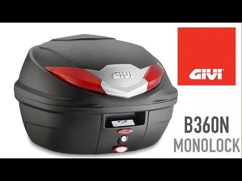 Neues B360N Top-case der GIVI Monolock Palette. 36lt Kapazität, verfügbar mit roten Reflektoren (B360N) und mit transparenten Reflektoren (B360NT).